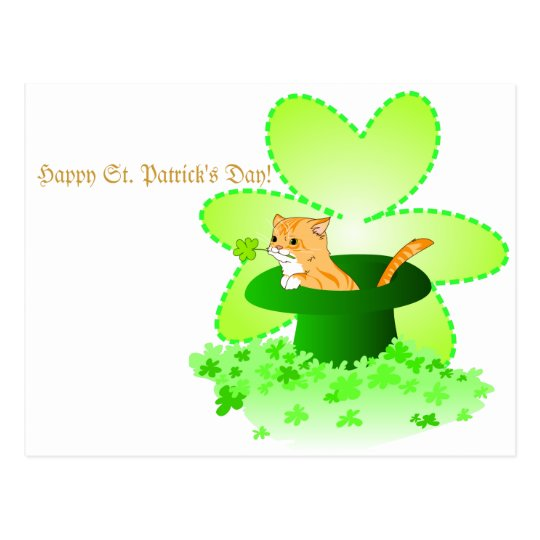 Cat St. Patrick's Day Postcard