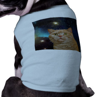 Cat staring at the universe doggie shirt