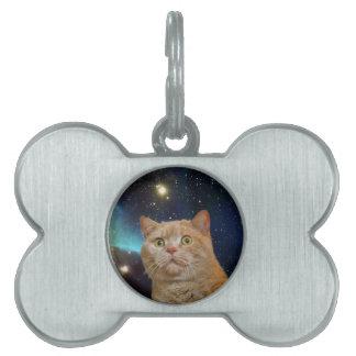 Cat staring at the universe pet tag