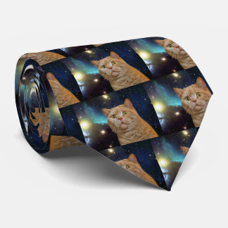 Cat staring at the universe tie