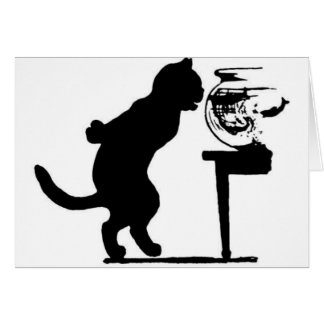 Cat Staring in Fish Bowl Black & White Silhouette Card