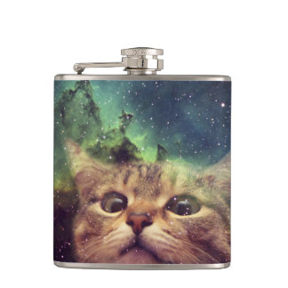 Cat Staring into Space Flask
