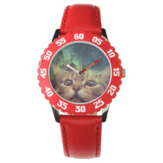 Cat Staring into Space Wrist Watches