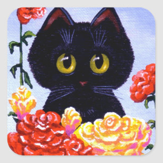 Cat Stickers Cute Black Roses Flowers Creationarts