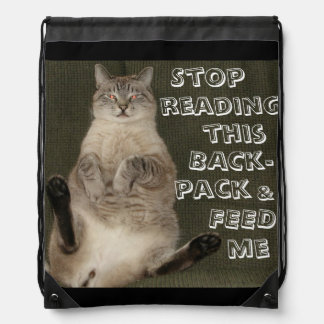 "Cat ""STOP READING BACKPACK & FEED ME"" Backpack"