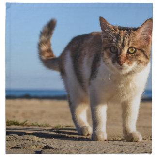 Cat Stray Animal Cute Young Face Eyes Beach Napkin