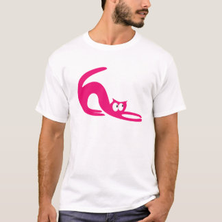 Cat Stretch Pink Look Up There Eyes T-Shirt