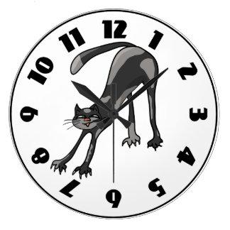 Cat Stretching Clock