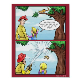 Cat Stuck In Tree Comic Poster