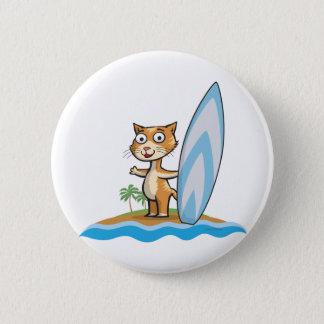 Cat Surfer 2 Inch Round Button