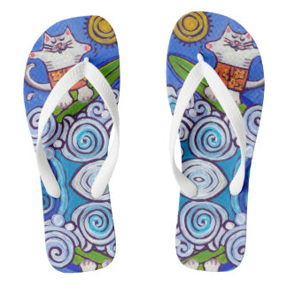 Cat Surfer Flip Flops