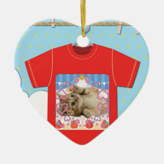Cat T shirt Ceramic Heart Ornament