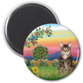 Cat (Tabby1) - Bright Country 2 Inch Round Magnet