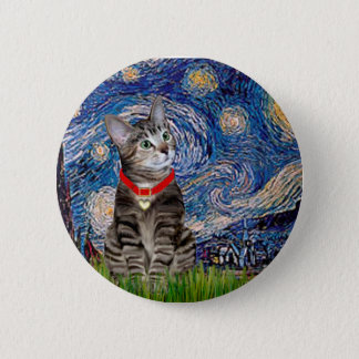 CAT (Tabby2) - Starry Night 2 Inch Round Button