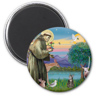 Cat (Tabby 2) - Saint Francis 2 Inch Round Magnet