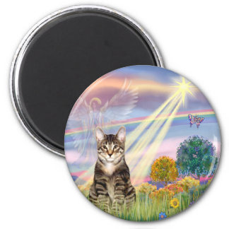 Cat (Tabby) - Cloud Angel 2 Inch Round Magnet