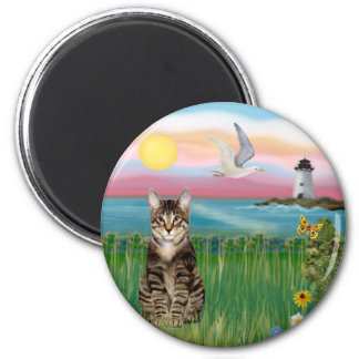 Cat (tabby) - Lighthouse 2 Inch Round Magnet