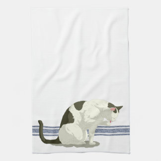 Cat Taking A Bath Blue Stripe Kitchen Towel