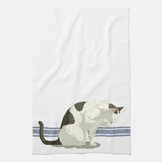 Cat Taking A Bath Blue Stripe Kitchen Towel