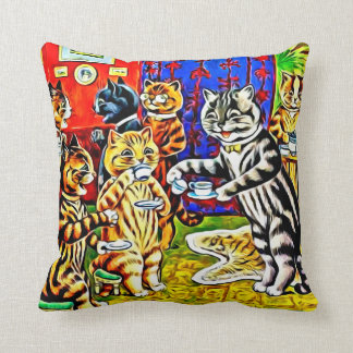 """Cat Tea Party"" Stylized Louis Wain Cats Pillow"