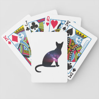Cat that shows the galaxy and the big universe bicycle playing cards