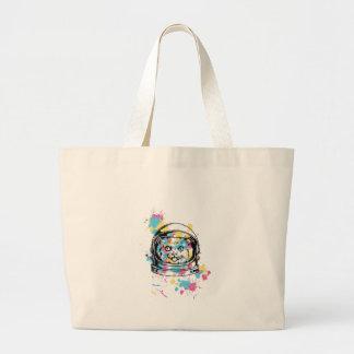 cat the astronuat large tote bag