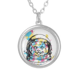 cat the astronuat silver plated necklace