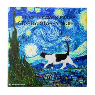 CAT TILE/TRIVET - I LOVE TO WALK IN THE STARRY