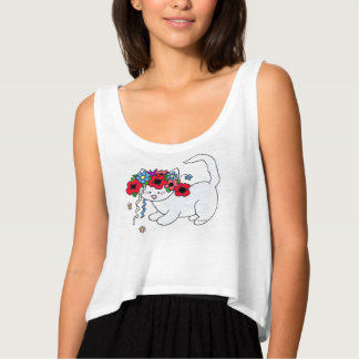 Cat Ukrainian Folk Art Tank Top