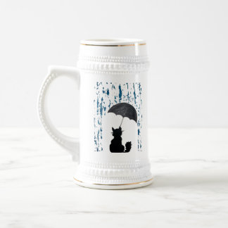 Cat Under Umbrella Beer Stein