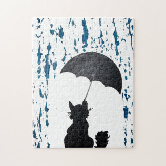 Cat Under Umbrella Jigsaw Puzzle