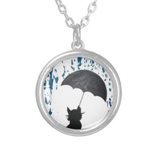 Cat Under Umbrella Silver Plated Necklace