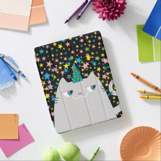 Cat Unicorn Caticorn Stars Black Magic Wizard Cute iPad Cover