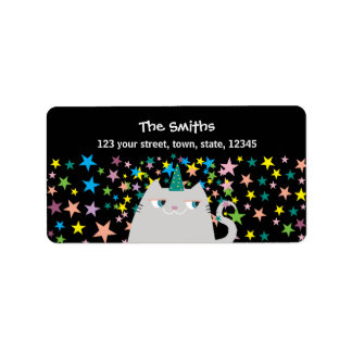 Cat Unicorn Stars Colors Magic Cute Birthday Party Label