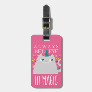 Cat Unicorn Stars Cute Believe in Magic Funny Pink Luggage Tag