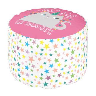 Cat Unicorn Stars Cute Believe in Magic Funny Pink Pouf