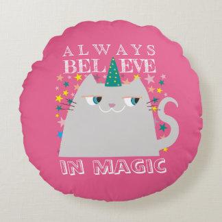 Cat Unicorn Stars Cute Believe in Magic Pink Girly Round Pillow