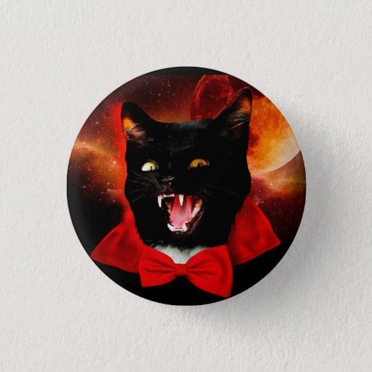 cat vampire - black cat - funny cats 1 inch round button