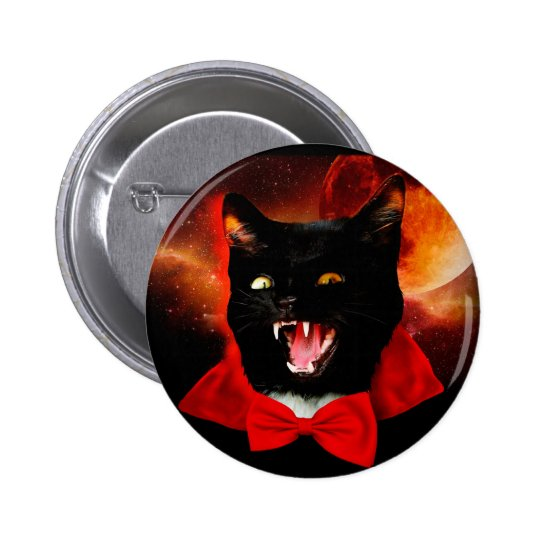 cat vampire - black cat - funny cats 2 inch round button