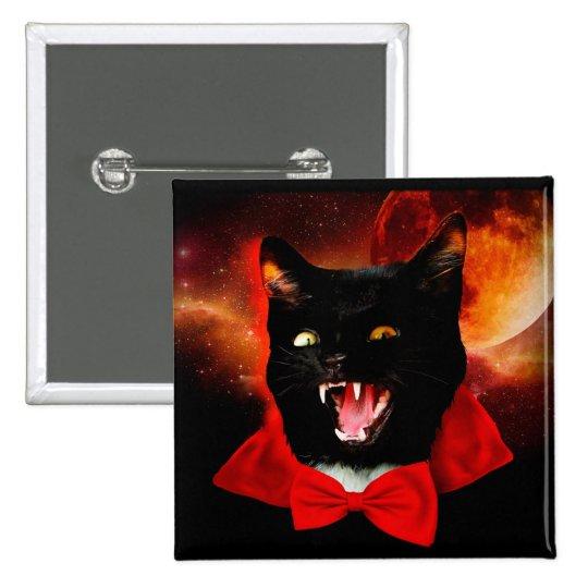 cat vampire - black cat - funny cats 2 inch square button