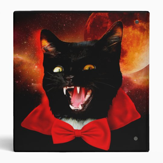 cat vampire - black cat - funny cats 3 ring binders