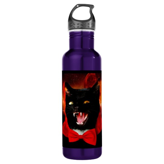 cat vampire - black cat - funny cats 710 ml water bottle