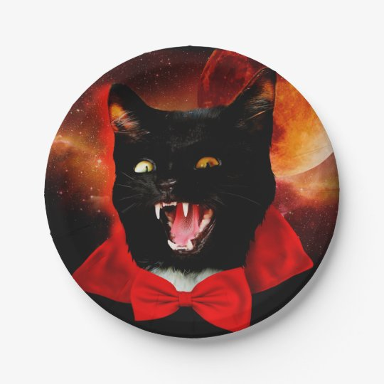 cat vampire - black cat - funny cats 7 inch paper plate