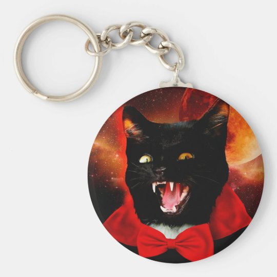 cat vampire - black cat - funny cats basic round button keychain