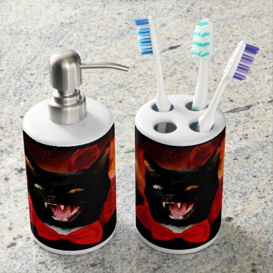 cat vampire - black cat - funny cats bathroom set