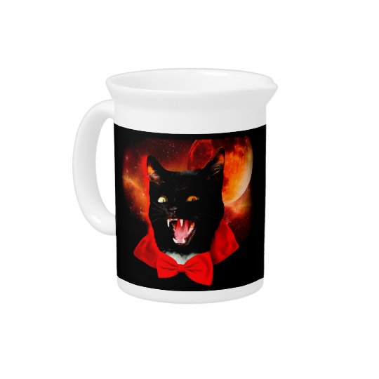 cat vampire - black cat - funny cats beverage pitcher