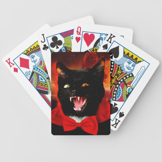 cat vampire - black cat - funny cats bicycle playing cards