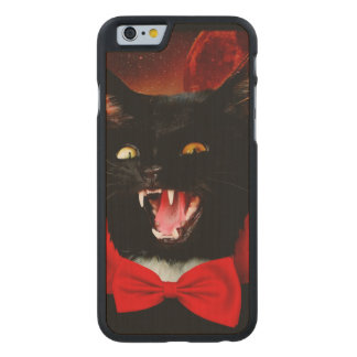 cat vampire - black cat - funny cats carved maple iPhone 6 case