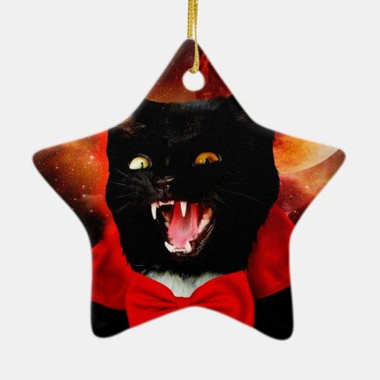 cat vampire - black cat - funny cats ceramic star ornament