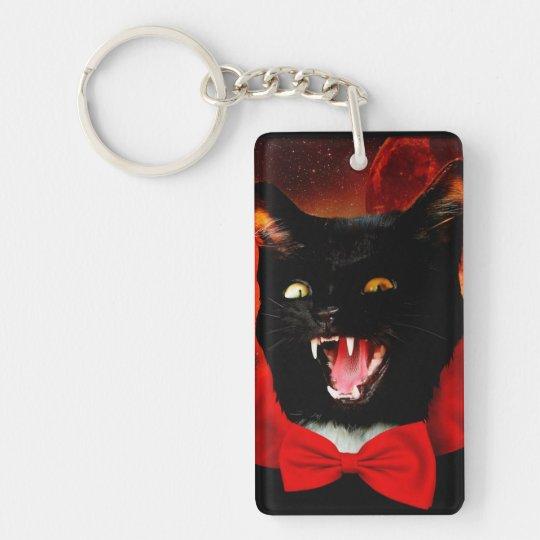 cat vampire - black cat - funny cats Double-Sided rectangular acrylic keychain